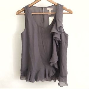 J. Crew Purple Crew Neck Sheer Silk Tank - Size 2